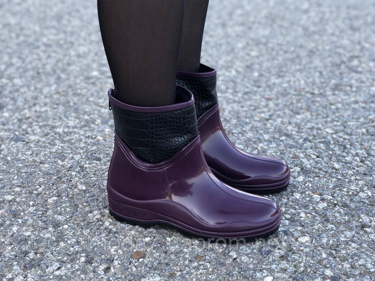 Женские резиновые сапоги, полу сапоги с утеплителем фиолетовые