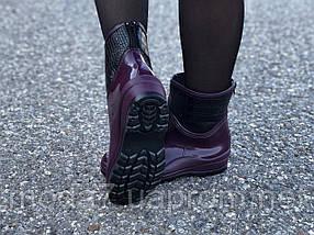 Женские резиновые сапоги, полу сапоги с утеплителем фиолетовые, фото 3