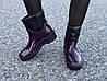 Женские резиновые сапоги, полу сапоги с утеплителем фиолетовые, фото 4