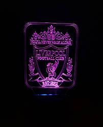 3d-світильник ФК Ліверпуль, 3д-нічник, кілька підсвічувань (на батарейці)