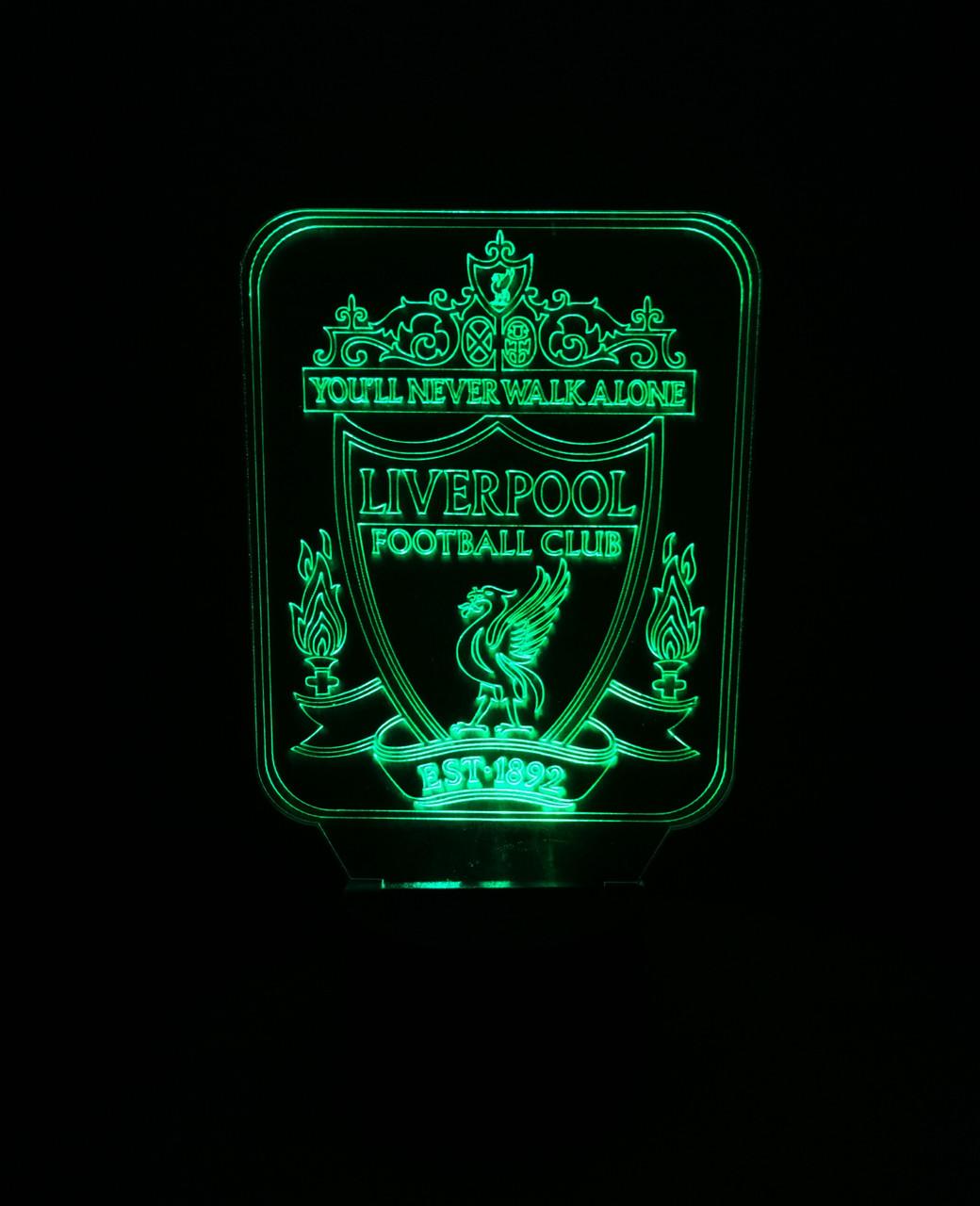 3d-світильник ФК Ліверпуль, 3д-нічник, кілька підсвічувань (батарейка+220В)