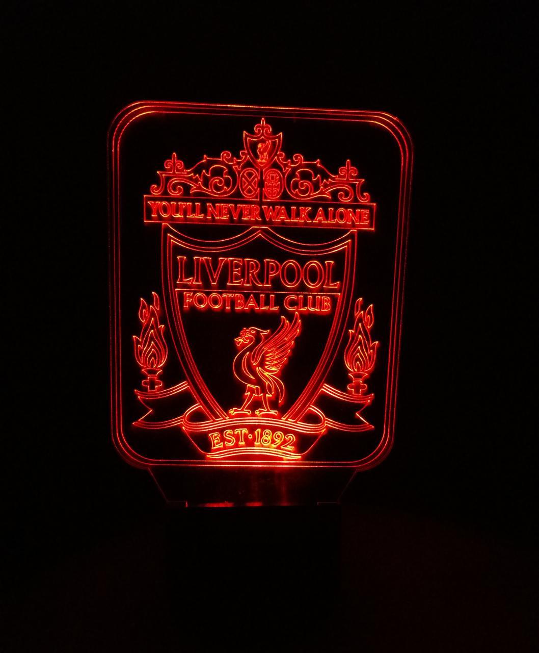 3d-світильник ФК Ліверпуль, 3д-нічник, кілька підсвічувань (на пульті)