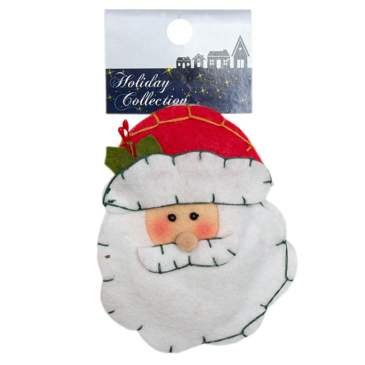 Елочная игрушка сувенирная фигурка из войлока, 10 см, лицо Деда Мороза, (000166-1)