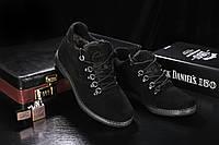 Мужские ботинки замшевые зимние черные Yuves 600, фото 1