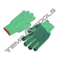 Рабочие х/б перчатки с ПВХ точкой зеленые LUXE 65г (мешок 240 пар)