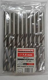 Спиральные сверла по металлу HAISSER DIN 338 7,5х69х109 мм сверло ц/х 10 шт