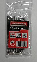 Cверло HAISSER DIN 338  3,0х33х61 мм ц/х ср. с. 10шт