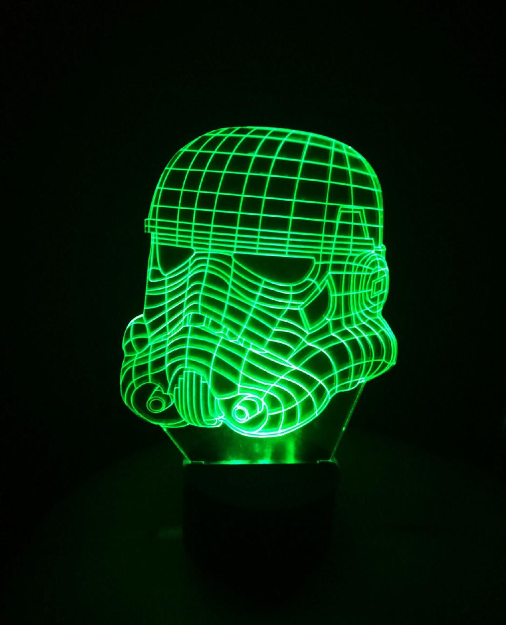3d-светильник Клон солдат (Звездные войны Star wars), 3д-ночник, несколько подсветок (на батарейке)