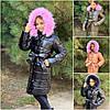 Детское дутое пальто с мехом на капюшоне 20369
