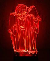 3d-светильник Мастер Йода (Звездные войны, Star wars), 3д-ночник, несколько подсветок (батарейка+220В)