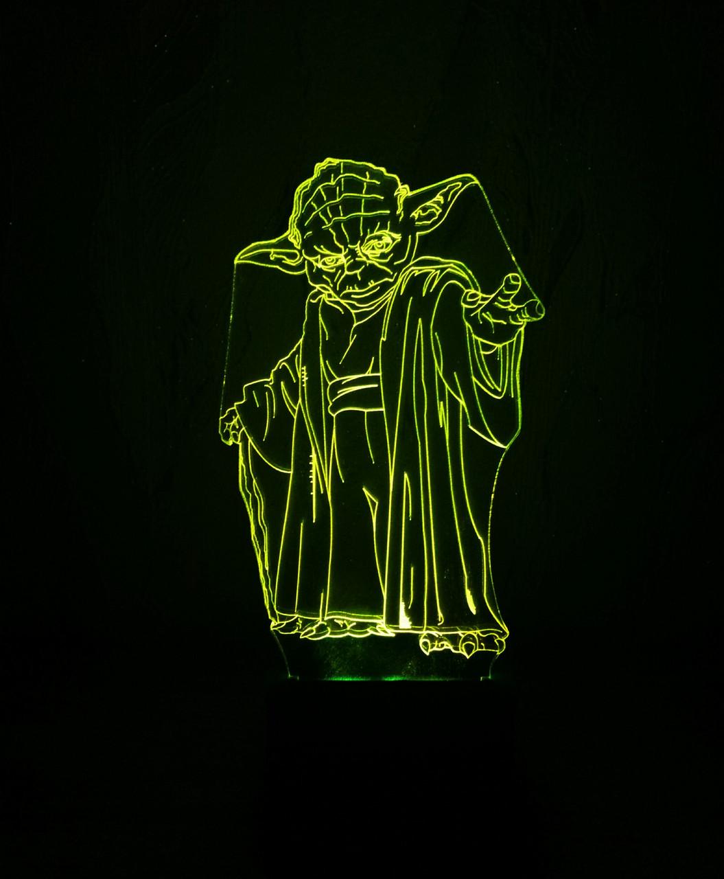 3d-светильник Мастер Йода (Звездные войны Star wars), 3д-ночник, несколько подсветок (на пульте)