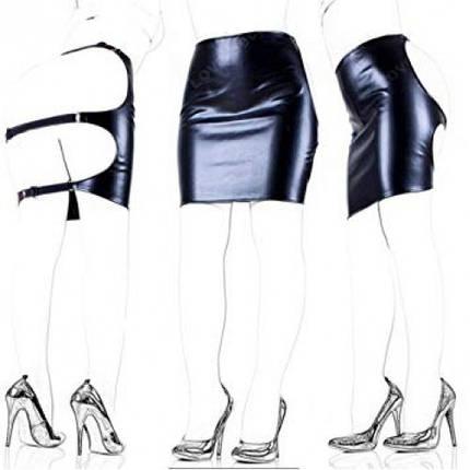 Юбка с открытой попкой виниловая WomanSpice материал в стиле латекс кожа, фото 2