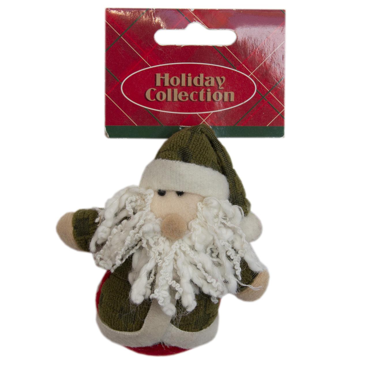 Елочная игрушка мягкая - Дед Мороз в зеленой кофте, 9 см, белый с зеленым, войлок (000258-1)