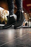 Зимние мужские ботинки Timberland Black \ Тимберленд Черные \ Чоловічі черевики Тімберленд Чорні