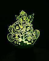 3d-светильник My little pony, Май литл пони, 3д-ночник, несколько подсветок (батарейка+220В)
