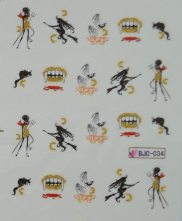 """Слайдер-дизайн  """"Хеллоуин"""" для ногтей BJC-034 (водные наклейки)"""