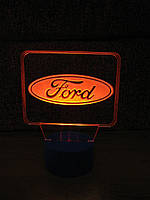 3d-светильник Форд, Ford (лого), 3д-ночник, несколько подсветок (на батарейке)