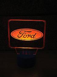 3d-світильник Форд, Ford (лого), 3д-нічник, кілька підсвічувань (на батарейці)