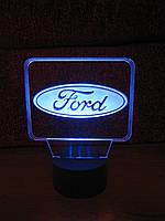 3d-светильник Форд, Ford (лого), 3д-ночник, несколько подсветок (батарейка+220В)