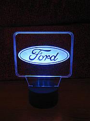 3d-світильник Форд, Ford (лого), 3д-нічник, кілька підсвічувань (батарейка+220В)