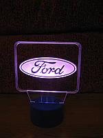 3d-светильник Форд, Ford (лого), 3д-ночник, несколько подсветок (на пульте)