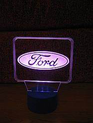 3d-світильник Форд, Ford (лого), 3д-нічник, кілька підсвічувань (на пульті)