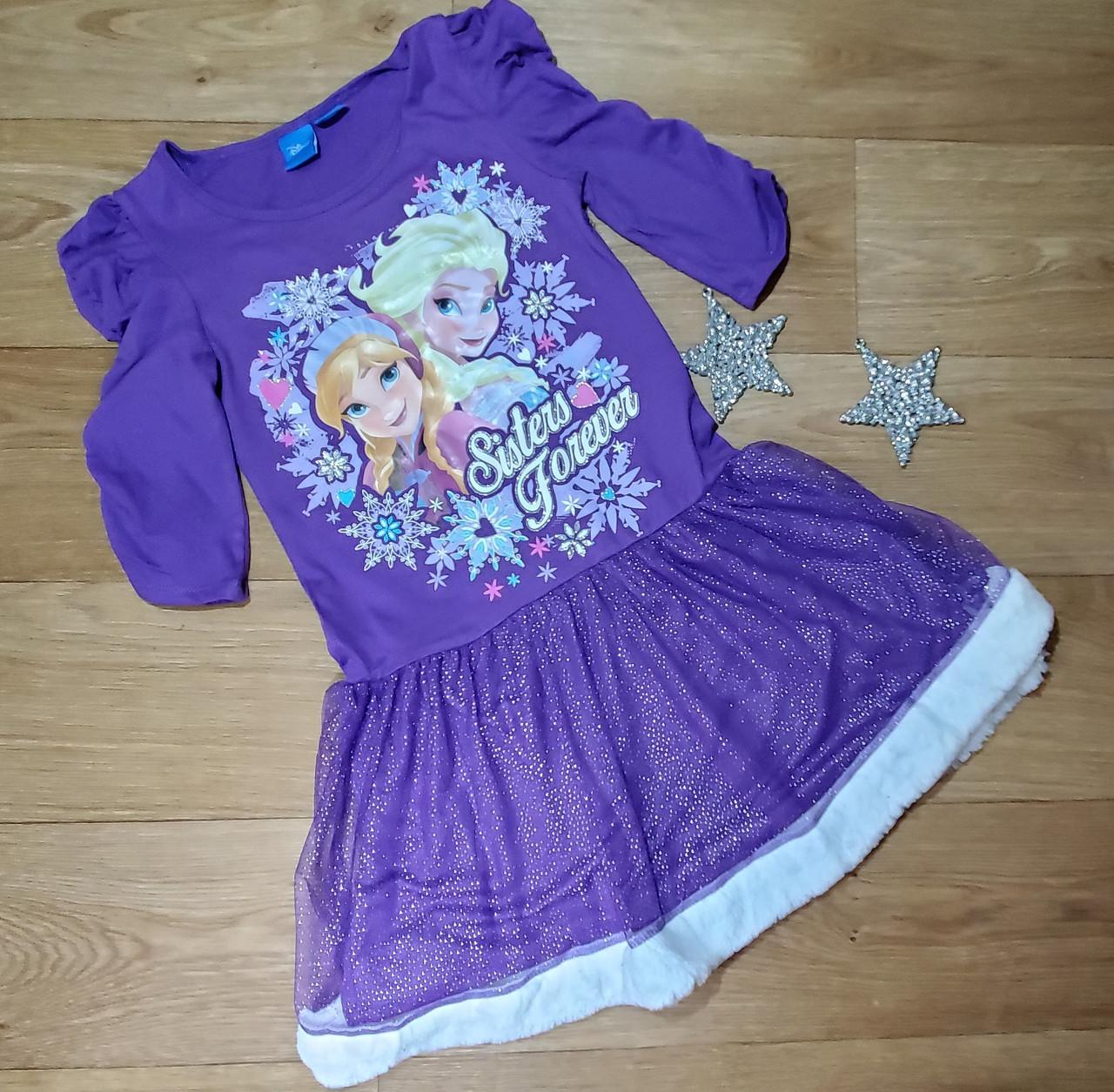 Нарядное фиолетовое платье с Эльзой и Анной Disney (США) (Размер 7-8Т)