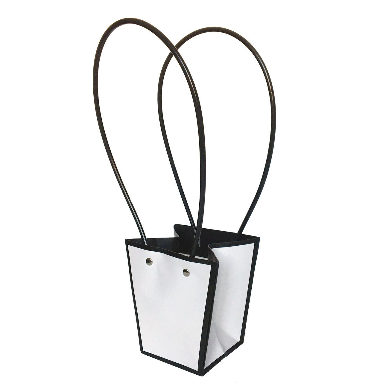 Бумажная сумка -трапеция влагостойкая для букетов белая