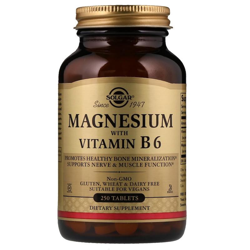 "Магний с витамином B6, SOLGAR ""Magnesium with Vitamin B6"" (250 таблеток)"