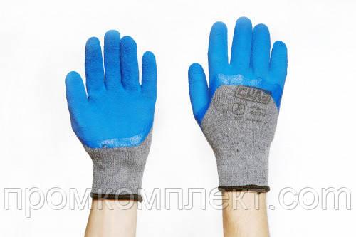 Перчатки с вспененным латексным покрытием р10 (серый+синий) СИЛА