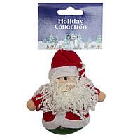 Мягкая игрушка сувенирная, 9 см, Дед Мороз в красной кофте (000258-2)