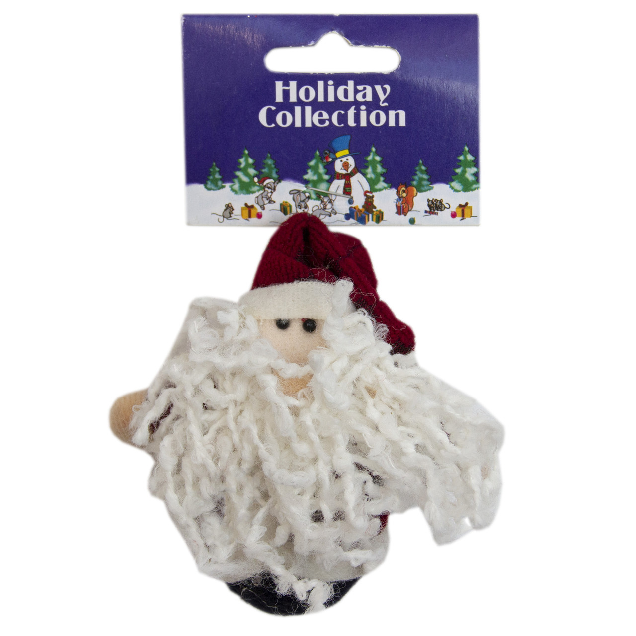 Елочная игрушка мягкая фигурка Дед Мороз в вишневой кофте, 9 см (000258-3)