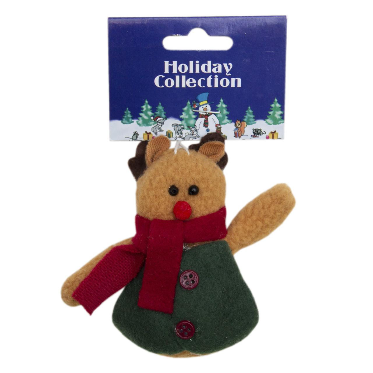 Елочная игрушка мягкая фигурка Медведь с красным шарфом 9 см (000258-8)