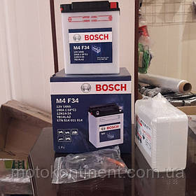 Мото аккумулятор BOSCH M4 FRESH PACK ПРАВ [+] 12V 14AH 190A 134x89x166 Bosch 0092M4F340 (YB14L-A / YB14L-A2)