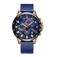 Мужские наручные часы LIGE 9929 - Золотой/Синий