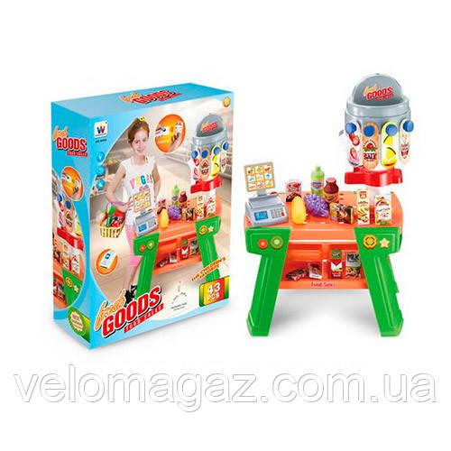 Дитячий іграшковий магазин, касовий апарат, сканер, продукти W055
