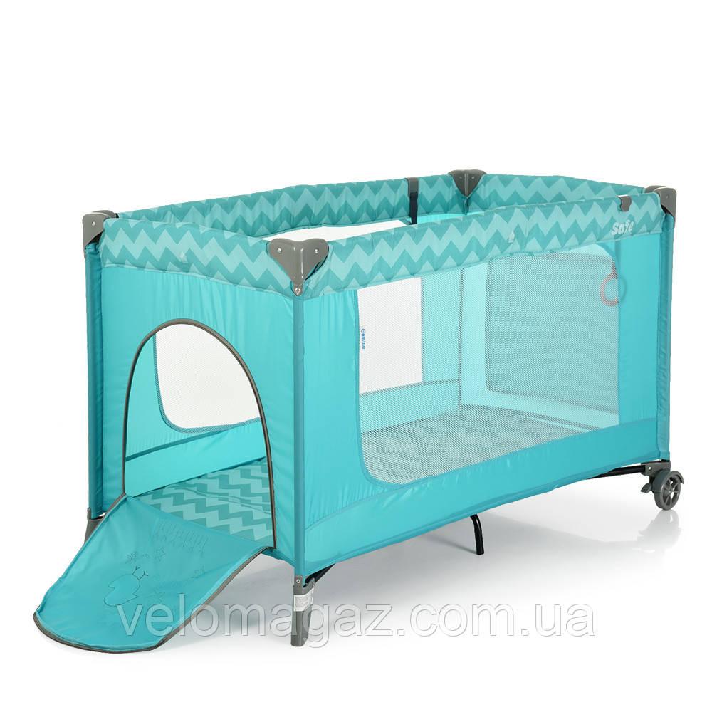 Манеж - ліжечко для малюків ME 1016 SAFE MINT ZIGZAG