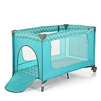 Манеж - ліжечко для малюків ME 1016 SAFE MINT ZIGZAG, фото 1