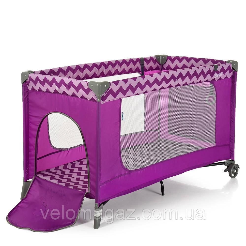 Манеж - ліжечко для малюків ME 1016 SAFE PURPLE ZIGZAG