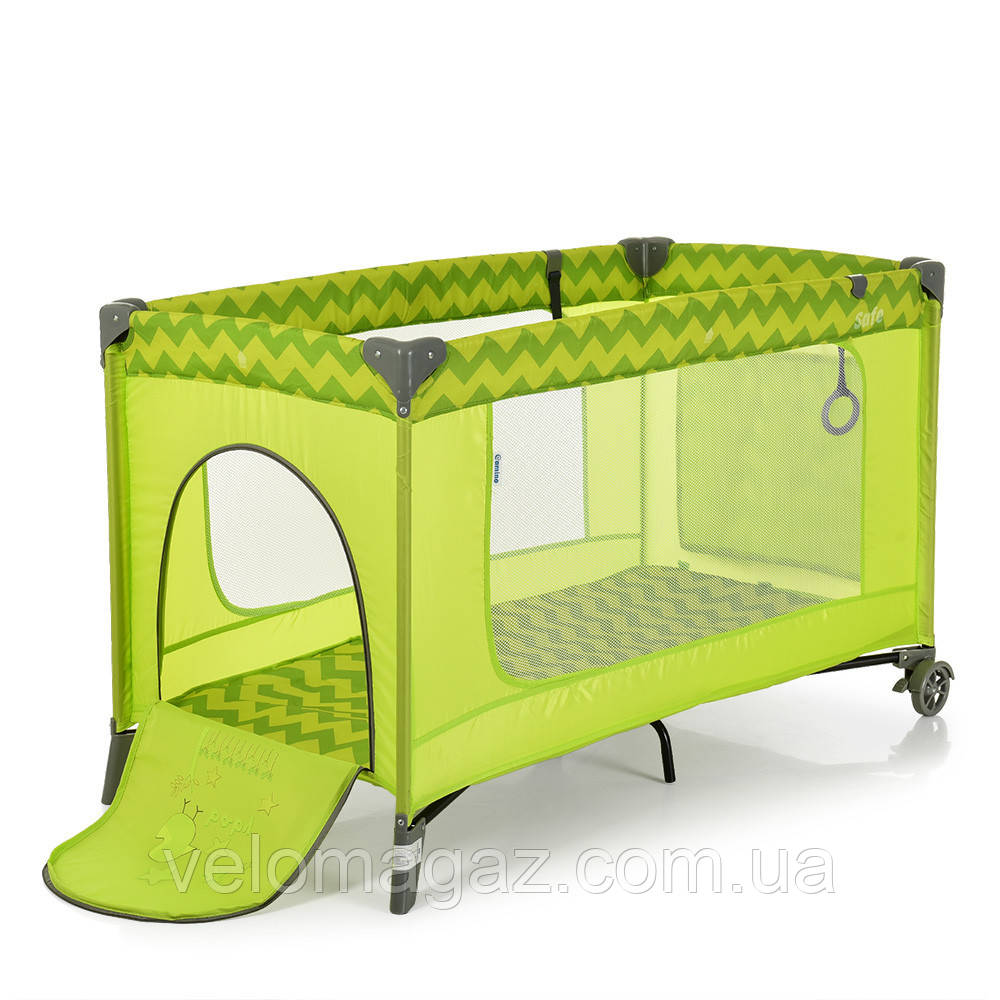Манеж - ліжечко для малюків ME 1016 SAFE GREEN ZIGZAG