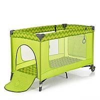Манеж - кроватка для малышей ME 1016 SAFE GREEN ZIGZAG, фото 1