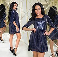 """Женское вечернее короткое платье до больших размеров 555 """"Пайетка Разлетайка"""" в расцветках"""