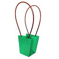 Бумажная сумка -трапеция влагостойкая для букетов салатовая
