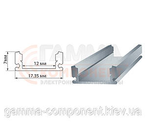 Алюминиевый профиль анодированный для светодидных лент ПФ-15 накладной полуматовый, 1м (комплект)