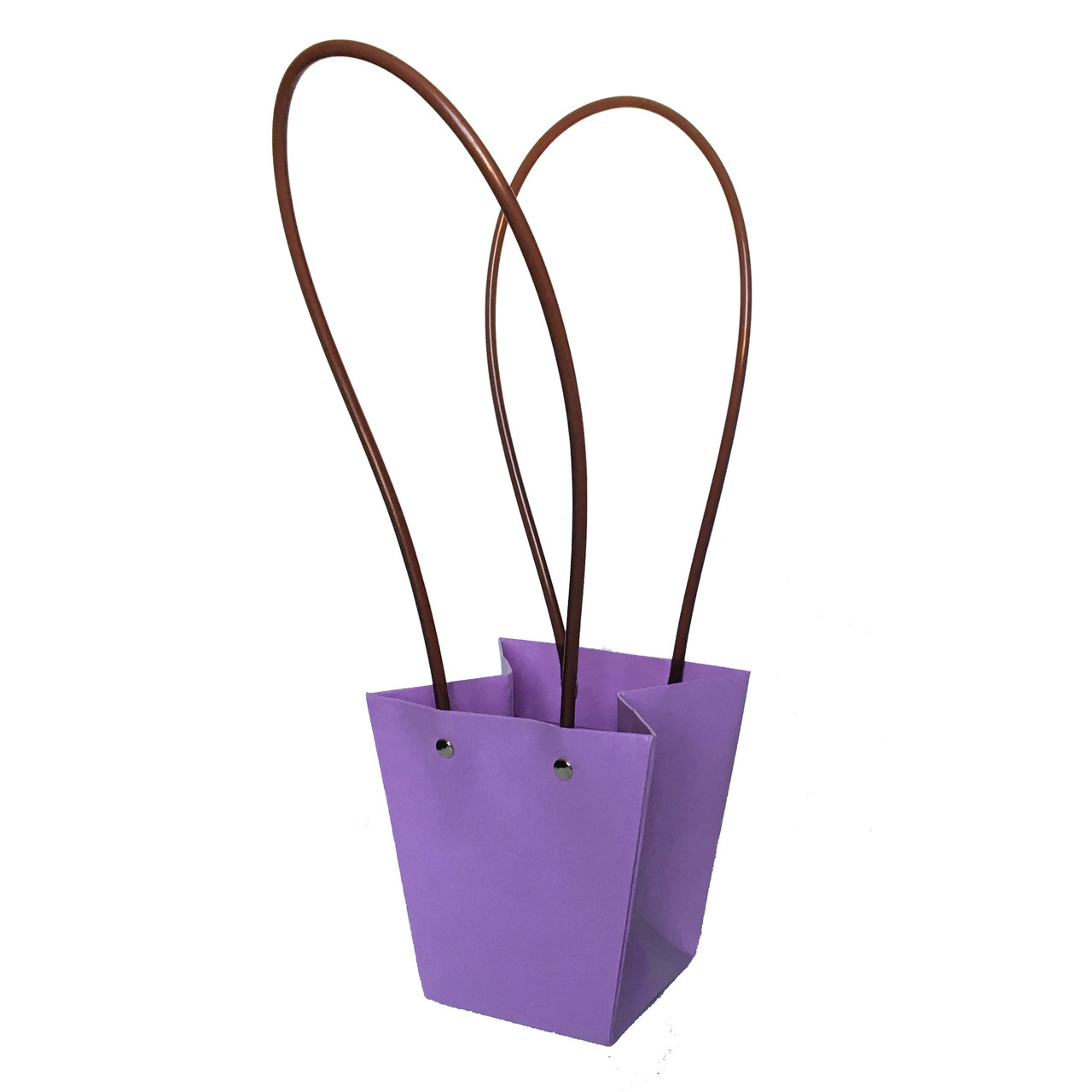 Бумажная сумка -трапеция влагостойкая для букетов сиреневая