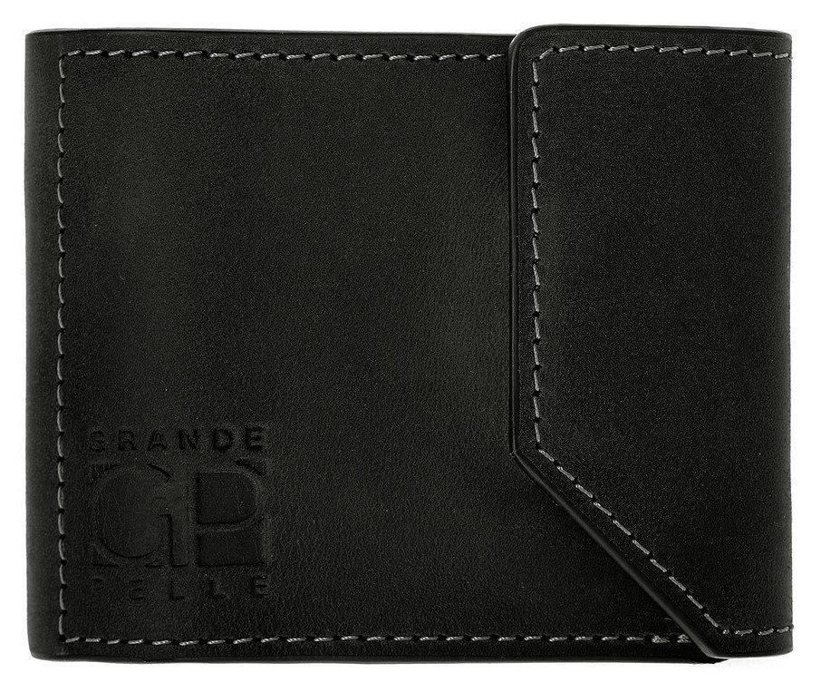 Зажим для купюр из матовой кожи Grande Pelle черный (120110)