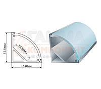 Алюминиевый профиль анодированный для светодиодных лент ПФ-9 угловой, рассеиватель полуматовый, 2м