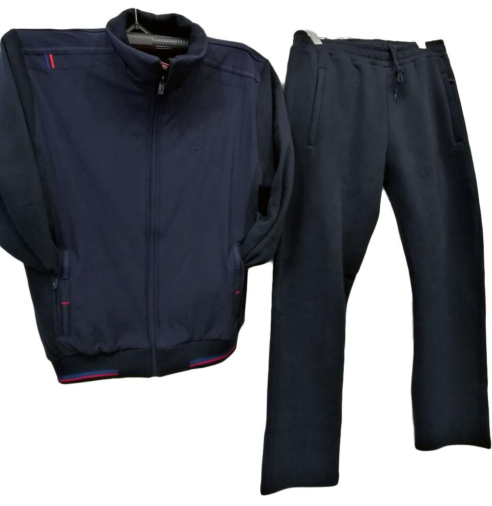 Дуже теплий чоловічий спортивний костюм Sporaf трикотажний без капюшона Темно-синій