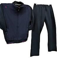 Очень теплый мужской спортивный костюм Sporaf трикотажный без капюшона Темно-синий
