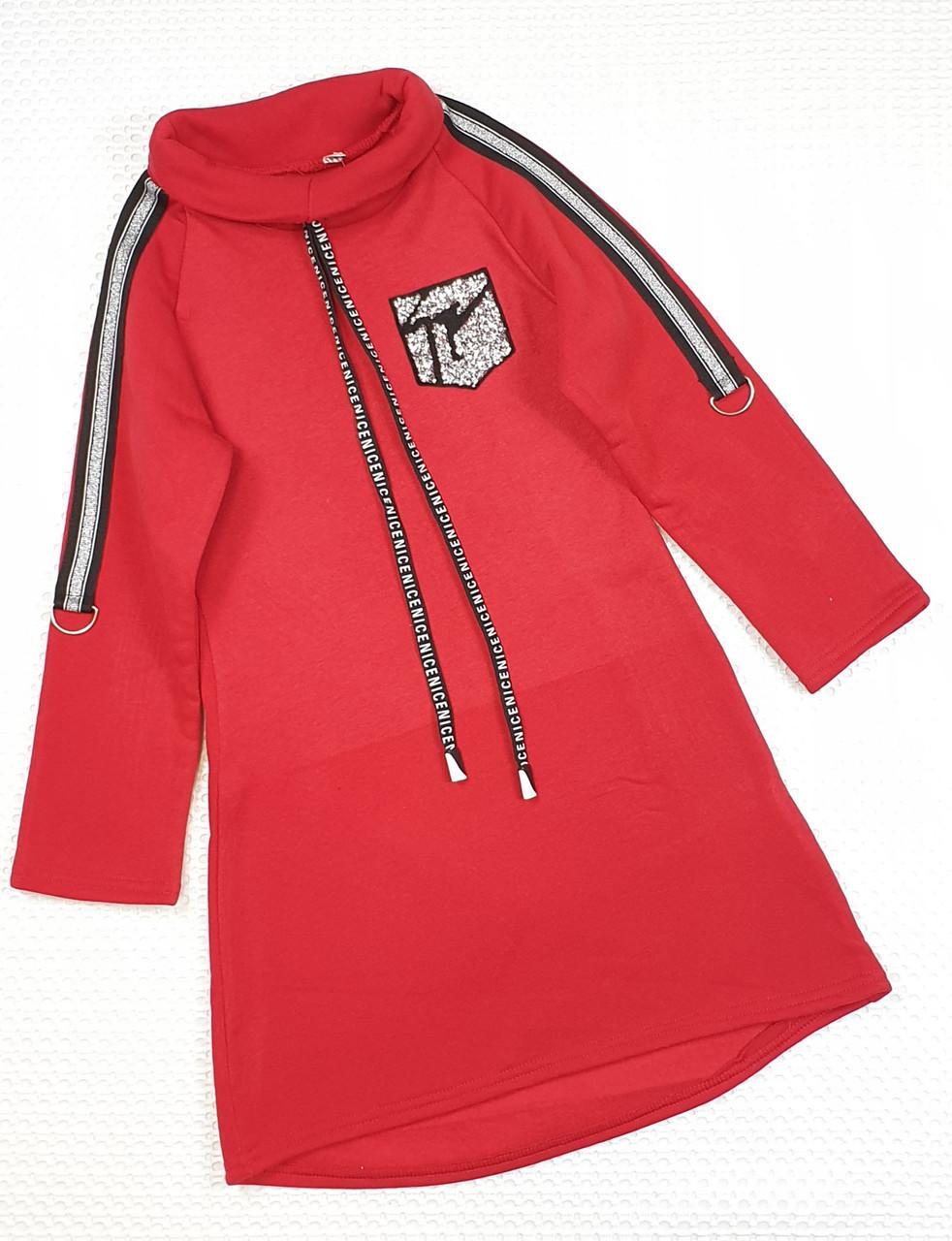 Теплое платье-туника для девочки 146-158 красный